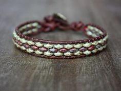 Items similar to Red and Green Beaded Leather Wrap Bracelet, Antiqued Brass Button, Boho, Bohemian on Etsy Beaded Jewelry Patterns, Bracelet Patterns, Bracelet Designs, Beaded Wrap Bracelets, Jewelry Bracelets, Crochet Bracelet, Geek Jewelry, Pandora Bracelets, Gothic Jewelry