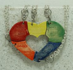 Personalized Puzzle Heart Necklaces set of by GirlwithaFrogTattoo