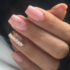 Find out the best idea in beauty your nails. Gold Glitter Nails, Rose Gold Nails, Pink Nails, Colorful Nail Designs, Nail Art Designs, Summer Nails 2018, Nagellack Trends, Star Nails, Latest Nail Art