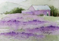 watercolor paintings of lavender | Lavender Field Watercolor Painting Original ACEO