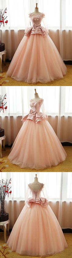 On Sale Light Prom Dresses Ball Gown, Sleeve Applique Beaded Prom Dresses Peach Organza Princess Quinceanera Ball Gowns Prom Dresses 2018, Unique Prom Dresses, Sweet 16 Dresses, Evening Dresses, Formal Dresses, Dresses Dresses, Quinceanera Dresses, Bridesmaid Dresses, Beaded Prom Dress