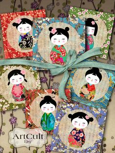 Printable Download KOKESHI COASTERS 3.8x3.8 inch Images by ArtCult