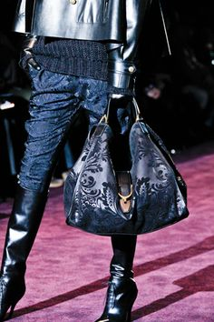 Royal Inspiration: The Breathtaking Brocade Trend.  The best part of this outfit on the Gucci runway is the oversized, fabulous brocade carpet bag.