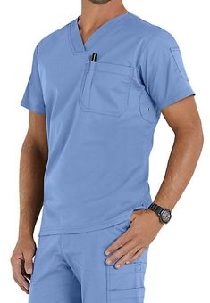 Beyond Scrubs men's Jack tops feature chest and sleeve pockets, open grommets for cooling, and double stitching details. Healthcare Uniforms, Medical Uniforms, Medical Scrubs, Nursing Scrubs, Scrubs Uniform, Lab Coats, Nurse Costume, Uniform Design, Scrub Tops