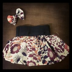 Floral infant skirt with matching hair bow $15 plus shipping by Skirtsey Children Clothing Baby Kid Girly Flowers Purple Orange Unique