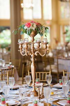 Tall candelabra centerpiece   Elegant Pink and Gold Wedding