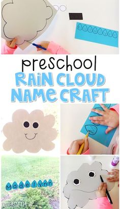 This raid cloud name craftivity is fun for name writing, recognition, and fine motor practice with a weather theme. Great for tot school, preschool, or even kindergarten! by katie Weather Activities Preschool, April Preschool, Preschool Names, Preschool Science, Preschool Lessons, Preschool Classroom, Toddler Activities, Preschool Activities, Spring Preschool Theme