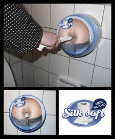 Francamente penso che sia abbastanza disgustosa questa campagna di ambient realizzata per il marchio danese di carta igienica Silk Soft! Capisco che il concetto da veicolare sia che il prodotto è 100% riciclato, ma mi sembra che più che apprezzamento per la salvaguardia dell'ambiente, si susciti ribrezzo!