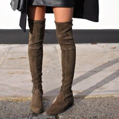 Stuart Weitzman The Lowland Boot Brand new in original box! The flat incarnation of the iconic Highland boots pairs perfectly with everything from dark denim to printed dresses. Brand new in the color Loden Green Suede. Stuart Weitzman Shoes Over the Knee Boots