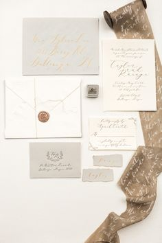 Calligraphy invitations. Photography : Rustic White Photography Read More on SMP: http://www.stylemepretty.com/georgia-weddings/dahlonega/2016/08/13/north-georgia-intimate-mountain-elopement/