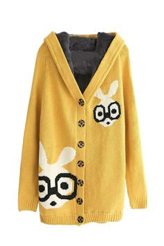 Cartoon Print Hooded Cardigan with Fleece Liner by: Oasap