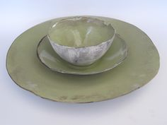 Lime nestling bowls and platter
