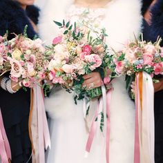 A variety of pink and ivory blooms