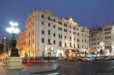 Peru, Lima, historical center listed as World Heritage by UNESCO, plaza San Martin, Gran Hotel Bolivar which was frequented by Orson Welles, Ernest Hemingway,...