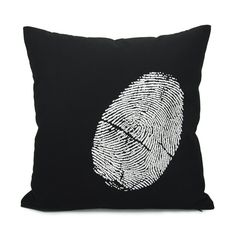 16x16 black throw pillow cover with white fingerprint - Thumbprint - Industrial home decor - Black and white decorative pillow case via Etsy