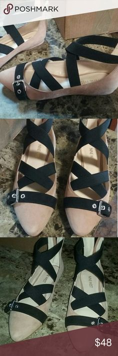 NINE WEST Suede Ballet Strap Buckle Flats 6 SUPER CUTE!!! Very trendy and stylish without sacrificing the comfort! Tan suede with elastic  straps, zips at back of heel. Nine West Shoes Flats & Loafers