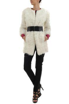 Jacheta alba din bumbac Fur Coat, Sweaters, Fashion, Moda, Fashion Styles, Sweater, Fashion Illustrations, Fur Coats, Fur Collar Coat