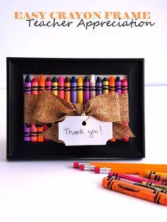 Thank a Teacher with this Easy Crayon Frame Teacher Appreciation Gift Idea