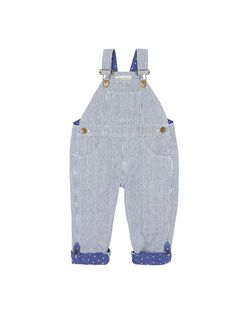 Otto stripe baby dungarees from Dotty Dungarees would be great baby boy or baby girl dungarees. They are so soft and have the signature dotty lining.