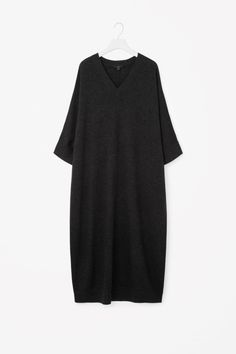 COS image 5 of Oversized v-neck wool dress in Charcoal Grey