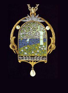 Diamond, pearl, plique-à-jour enamel, silver and gold pendant, by Luis Masriera.
