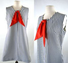 1960s Blue and White Stripe Nautical Sack by KrisVintageClothing