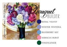 Royal velvet, winter wisteria, blueberry sky, hibiscus burst, pinefeather (6-Shades-of-Purple-Bouquet)