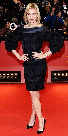 Who made Renee Zellweger's black long sleeve dress that she wore to the Berlin Film Festival premiere of Otouto? Celebrity Outfits, Celebrity Style, Formal Attire For Women, Triangle Body Shape, Berlin Film Festival, Black Long Sleeve Dress, Dress Black, Renee Zellweger, Nicole Richie