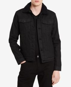 Calvin Klein Jeans Men's Faux Sherpa Collar Denim Jacket - Black 2XL