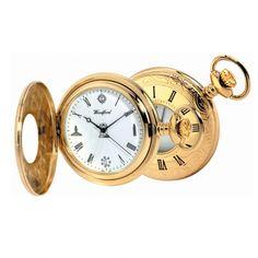 Masonic Gold Plated Quartz Half Hunter Pocket Watch