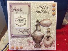 Craftwork Cards Blog Birthday Cards, Happy Birthday, Craftwork Cards, Vintage Ephemera, Cardmaking, Projects To Try, Perfume Bottles, Girly, Place Card Holders