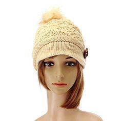 Women Button Crochet Knit Beret Hat Ski Baggy Beanie Ball Wool Cap