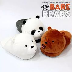 Winter Indoor Unisex Cartoon Slippers For Men and Women We Bare Bears Style Warm Home Panda Brown Bear Polar Bear Plush Slippers Bear Slippers, Cute Slippers, We Bare Bears, Cute Luggage, We Bear, Accesorios Casual, Bear Wallpaper, Barbie, Girls Shoes