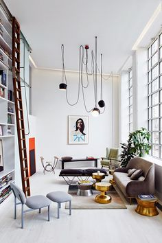 high ceilings, graphic lamp