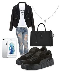 Untitled #49 by tay-liangg on Polyvore featuring polyvore, fashion, style, Zizzi, Puma, Yves Saint Laurent, Ice and clothing