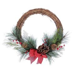 """24"""" Holiday Grapevine & Berry Wreath"""