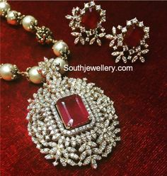 South Sea Pearl Necklace with Diamond Ruby Pendant - Indian Jewellery Designs Emerald Jewelry, Diamond Jewelry, Gold Jewelry, Bridal Jewelry, Ruby Pendant, Diamond Pendant, Gold Pendent, Pearl Diamond, Pendant Set