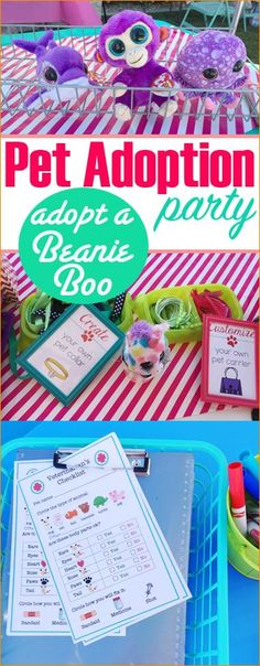 Adopt a Beanie Boo. Adopt a pet party for girls or boys. Fun birthday party you can host at home. Adopt a stuffed animal, give it a name, make it a collar, give it a check up and create it a home. Darling party for all ages.