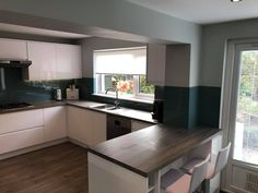 New kitchen remodel by team, featuring AluSplash's 'Blue Bird' kitchen splashback, kitchen in Soho White Gloss, Hafele UK corner pull out system and more! Video credits to Kitchen Interior, New Kitchen, Kitchen Design, Kitchen Backsplash, Kitchen Cabinets, White Gloss Kitchen, Shower Wall Panels, Uk Homes, Splashback
