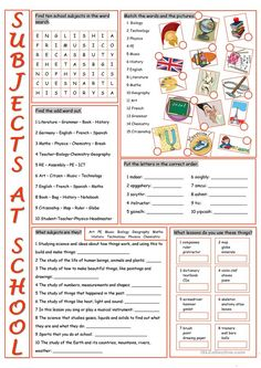School Subjects Vocabulary Exercises - English ESL Worksheets for distance learning and physical classrooms Vocabulary Exercises, Vocabulary Worksheets, School Worksheets, English Vocabulary, Printable Worksheets, Multiplication Worksheets, Spanish Grammar, Free Printable, Education English