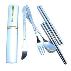 Amazon.com: Umiwe(TM) Stainless Steel Foldable Travel Cutlery Four Pieces Set With Umiwe Accessory Peeler: Kitchen & Dining