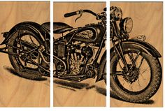Vintage Indian Motorcycle Screen Print Wood Painting Wall Art on Stained Solid BIRCH 3/4 inch thick  See   It on ETSY https://www.etsy.com/listing/178673573/vintage-indian-motorcycle-screen-print?ref=listing-shop-header-0