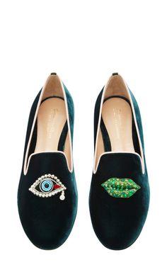Scott Face Embroidered Velvet Loafers by Mary Katrantzou - Moda Operandi