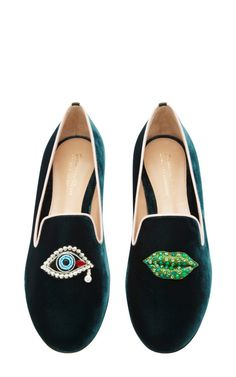 Scott Face Embroidered Velvet Loafers by Mary Katrantzou - Moda Operandi