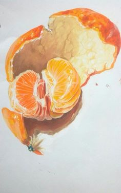 mandarin painting #mandarin #tangerine #painting #postercolor#기초디자인