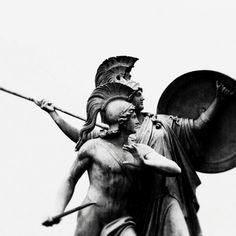 """nurewigkeit:  """"Der junge Held wird von Athena beschützt""""(Athena protects the young hero) by Gustav Blaeser, 1854"""