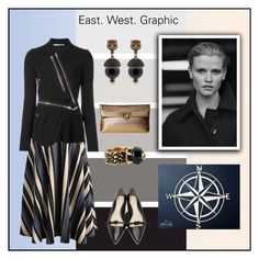 """""""East. West. Graphic"""" by yaschy ❤ liked on Polyvore featuring Chicwish, Givenchy, Gucci, 3.1 Phillip Lim, Salvatore Ferragamo and blueandyellow"""