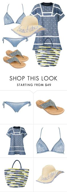"""By the beach"" by subvilli on Polyvore featuring Ermanno Scervino Lingerie, Rialto, Sacai, Neiman Marcus, Miss Selfridge, hat, bag, straw and contestentry"