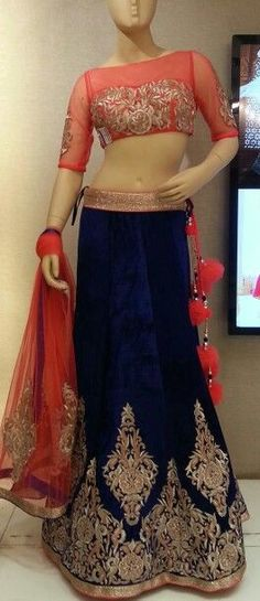Coral and Navy Lehenga Indian Lehenga, Lehenga Choli, Anarkali, Indian Bridal Wear, Indian Wear, Indian Dresses, Indian Outfits, Indian Clothes, Pakistani Dresses