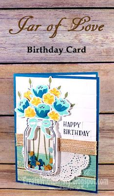 Birthday Shaker Card by StampinChristy - Cards and Paper Crafts at Splitcoaststampers Making Greeting Cards, Greeting Cards Handmade, Making Cards, Mason Jar Cards, Mason Jars, Love Birthday Cards, Love Cards, 3d Cards, Stamping Up Cards